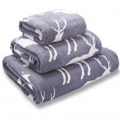 Stag Jacquard 100% Cotton Towel - Grey