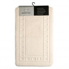 Catherine Lansfield Armoni 2 piece Bath Mat Set - Cream