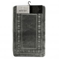 Catherine Lansfield Armoni 2 piece Bath Mat Set - Grey