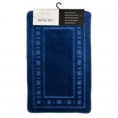Catherine Lansfield Armoni 2 piece Bath Mat Set - Navy