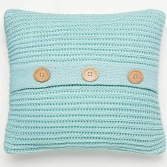Catherine Lansfield Chunky Knit Cushion Cover - Duck Egg Blue
