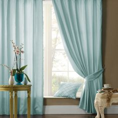 Plain CL Faux Silk Ring Top Lined Curtains - Duck Egg
