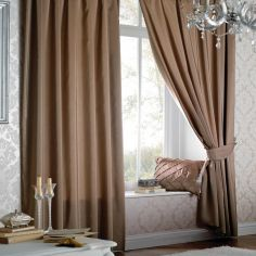 Plain CL Faux Silk Ring Top Lined Curtains - Latte