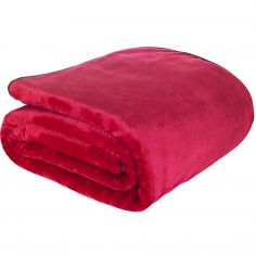 Catherine Lansfield Plain Raschel Throw - Ruby Red