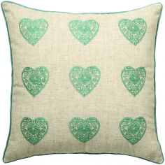 Vintage Hearts Cushion Cover - Green & Natural