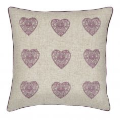 Catherine Lansfield Vintage Hearts Cushion Cover - Heather & Natural