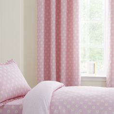 Catherine Lansfield Daisy Dreamer Pink Kids Ring Top Lined Curtains