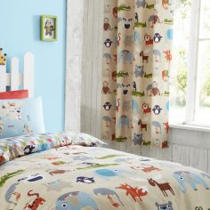 Catherine Lansfield Animal Kingdom Kids Ring Top Curtains