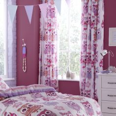 Catherine Lansfield Pink Owls Cotton Rich Tape Top Curtains