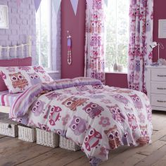 Catherine Lansfield Pink Owls Kids Cotton Rich Duvet Cover Set