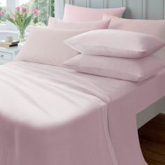 Catherine Lansfield 145gsm Plain Dyed Flannelette Fitted Sheet - Pink