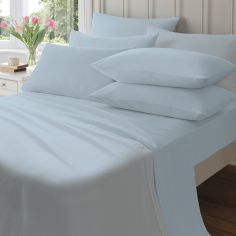 Catherine Lansfield Pair of 145gsm Plain Dyed Flannelette Pillowcases - Blue