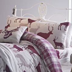 Pair of Grampian Stag Flannelette Pillowcases - Mulberry Purple