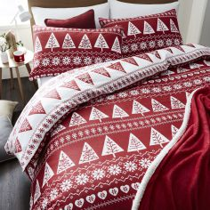 Catherine Lansfield Nordic Trees Duvet Cover Set - Red