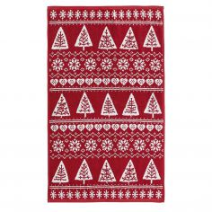 Nordic Trees Cotton Towel - Red