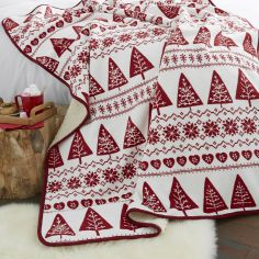 Catherine Lansfield Nordic Trees Soft Throw - Red