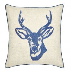 Stags Head Cushion Cover - Navy Blue