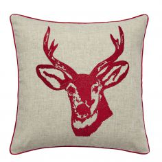 Stags Head Cushion Cover - Red