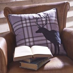 Tartan Stag Cushion Cover - Charcoal