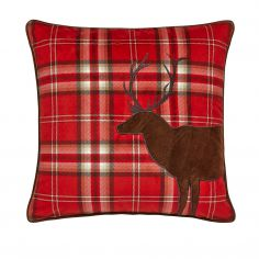 Tartan Stag Cushion Cover - Red