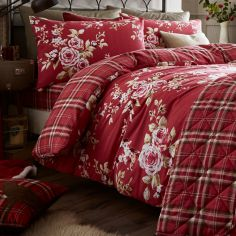Catherine Lansfield Flannelette Brushed Cotton Cantebury Check Duvet Cover Set - Dark Red