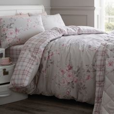 Catherine Lansfield Flannelette Brushed Cotton Cantebury Check Duvet Cover Set - Dove Grey