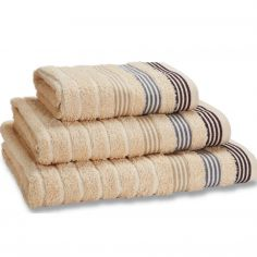 Catherine Lansfield Garrat Stripe 100% Cotton Towel - Natural