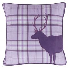 Tartan Stag Cushion Cover - Heather
