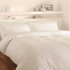 Catherine Lansfield Minimalist Plain Cream Duvet Cover Set