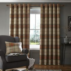 Catherine Lansfield Brushed Heritage Check Fully Lined Eyelet Curtains - Burnt Orange