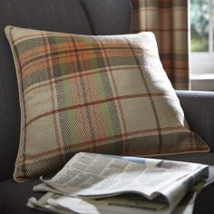 Catherine Lansfield Brushed Heritage Check Burnt Orange Cushion Cover