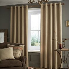 Catherine Lansfield Brushed Heritage Plain Eyelet Curtains - Dark Cream/Oatmeal