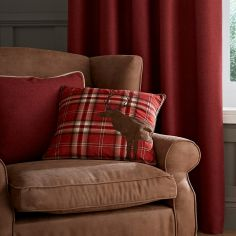 Brushed Heritage Plain Cushion - Red