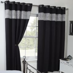 Carla Diamante Blackout Ring Top Curtains - Black