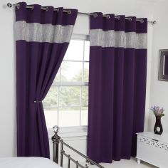 Carla Diamante Blackout Ring Top Curtains - Amethyst / Purple