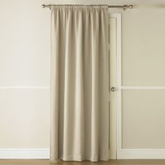 Self-Lined Thermal Blackout Linen Look Door Curtain - Natural