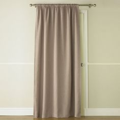 Self-Lined Thermal Blackout Linen Look Door Curtain - Mocha