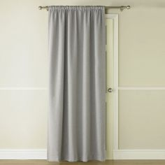 Self-Lined Thermal Blackout Linen Look Door Curtain - Silver Grey