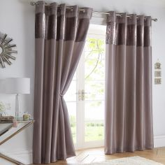 Boulevard Velvet Border Fully Lined Ring Top Curtains - Mink