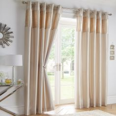 Boulevard Velvet Border Fully Lined Ring Top Curtains - Cream