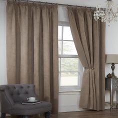 Colorado Waffle Chenille Effect Lined Tape Top Curtains - Taupe