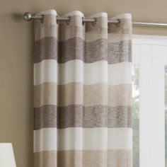 Mykonos Striped Ring Top Top Voile Curtain Panel - Natural