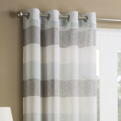 Mykonos Striped Ring Top Top Voile Curtain Panel - Duck Egg