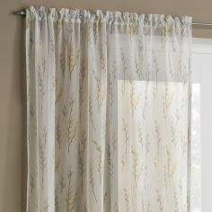 Willow Slot Top Voile Curtain Panel - Yellow