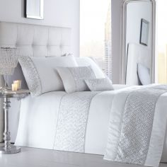 Shimmer Sequin Diamante Duvet Cover Set - White