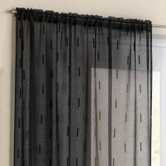 Denver Slot Top Voile Curtain Panel - Black
