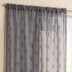 Denver Slot Top Voile Curtain Panel - Grey