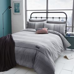 Catherine Lansfield Grey Denim Duvet Cover Set