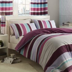 Catherine Lansfield Textured Stripe Duvet Cover Set - Purple / Multi