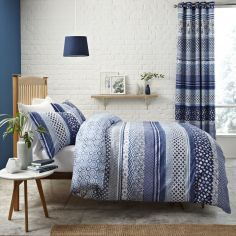 Catherine Lansfield Santorini Blue Reversible Duvet Cover Set
